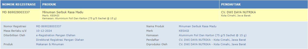Madu Kesagi sudah terdaftar di BPOM