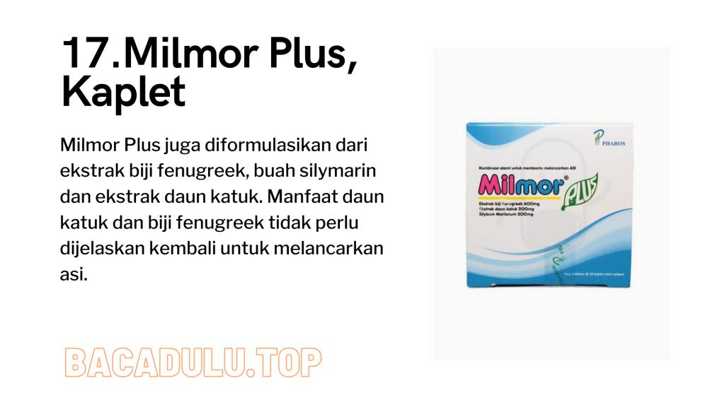Merk Obat Vitamin Teh Susu Madu Suplemen Pelancar Asi Terbaik Yang Bagus Review Milmor Plus, Kaplet Pelancar ASI